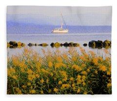 Piermont Reeds And Boat Fleece Blanket
