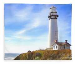 Pigeon Point Lighthouse Ca Fleece Blanket