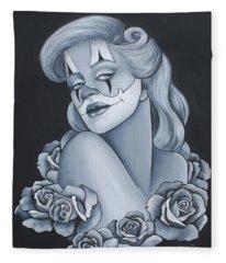 Pin Up Roses Fleece Blanket
