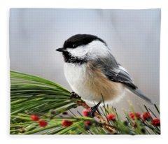Pine Chickadee Fleece Blanket
