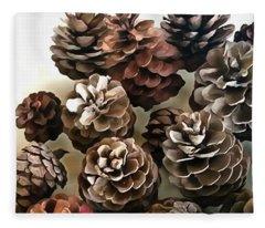 Pine Cones Organic Christmas Ornaments Fleece Blanket