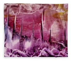 Pink Abstract Castles Fleece Blanket