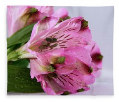 Pink Alstroemeria-4 Fleece Blanket
