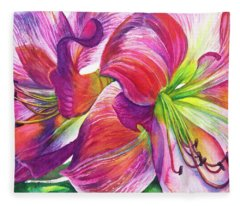 Pink Amarylis Fleece Blanket