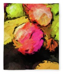 Pink And Green Apples With The Yellow Banana Fleece Blanket