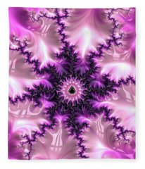 Fleece Blanket featuring the digital art Pink And Purple Abstract Fractal by Matthias Hauser