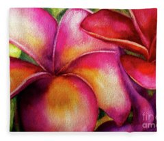 Pink And Red Plumerias Fleece Blanket