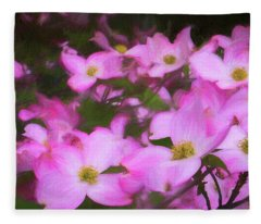 Pink Dogwood Flowers  Fleece Blanket