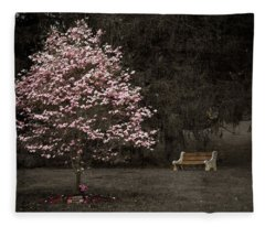 Pink Dogwood Tree And A Bench Fleece Blanket