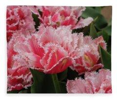 Pink Fringe Tulips Fleece Blanket