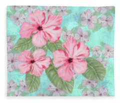 Pink Hibiscus Print On Aqua Fleece Blanket