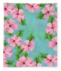 Pink Hibiscus Tropical Floral Print Fleece Blanket