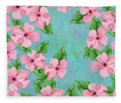 Pink Hibiscus Tropical Floral Print Fleece Blanket