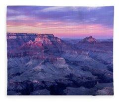 Pink Hues Over The Grand Canyon Fleece Blanket