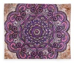 Pink Mandala Fleece Blanket