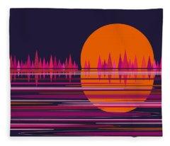 Pink Moonrise Abstract Fleece Blanket