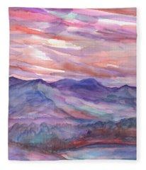 Pink Mountain Landscape Fleece Blanket