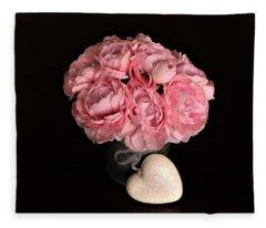 Pink Peonies And Heart On Black Fleece Blanket