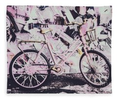 Pink Posterized Pushbike Fleece Blanket