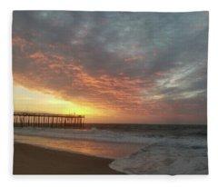 Pink Rippling Clouds At Sunrise Fleece Blanket