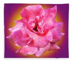 Pink Rose With Background Fleece Blanket