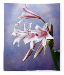 Pink Striped White Lily Flowers Fleece Blanket