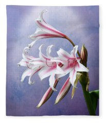 Pink Striped White Lily Flowers Fleece Blanket