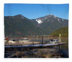 Pitt Lake Winterimpression Fleece Blanket