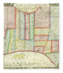 Plan Of Philadelphia, 1860 Fleece Blanket