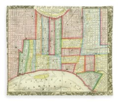 Plan Of Philadelphia, 1860 Fleece Blanket