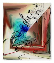Playing The Piano Abstract Fleece Blanket