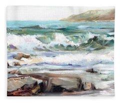 Overlooking Plymouth Beach Fleece Blanket