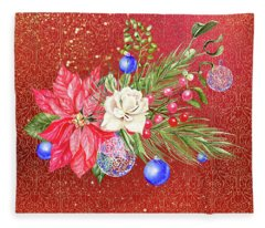 Poinsettia With Blue Ornaments  Fleece Blanket
