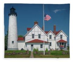Point Iroquois Lighthouse Fleece Blanket