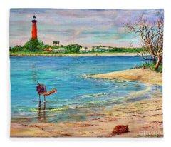 Ponce Inlet Lighthouse Fleece Blanket