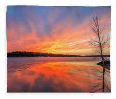 Pond Ablaze Fleece Blanket