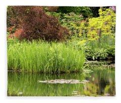 Pond Reflections In Monet's Garden Fleece Blanket