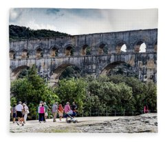 Pont Du Gard Aqueduct  A Unesco World Heritage Site Fleece Blanket