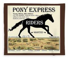 Pony Express Want Ad Fleece Blanket
