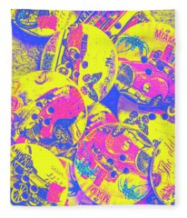 Pop Art Garage  Fleece Blanket