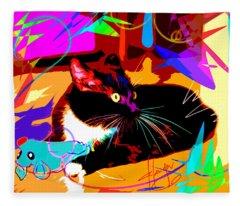 pOp Cat and Mouse Fleece Blanket