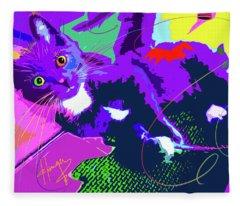 Pop Cat Kitten With String Fleece Blanket