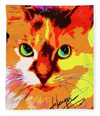 Pop Cat Lily Fleece Blanket