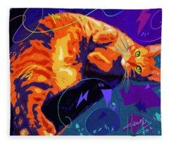 Pop Cat Miles Fleece Blanket