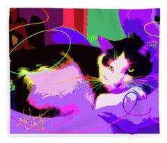 Pop Cat Stitch Fleece Blanket