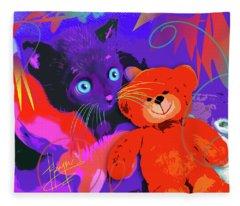 pOp Cat Teddy And His Teddy Fleece Blanket