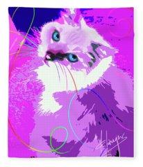 Pop Cat Tiffany Fleece Blanket