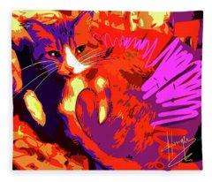 Pop Cat Tiger Fleece Blanket