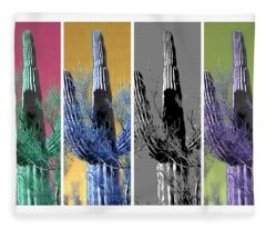 Fleece Blanket featuring the photograph Pop Saguaro Cactus by Judy Kennedy