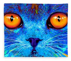 pOpCat Boe - Big Orange Eyes Fleece Blanket